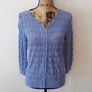 LOFT Knit Button Down Short Sleeve Cardigan Size M